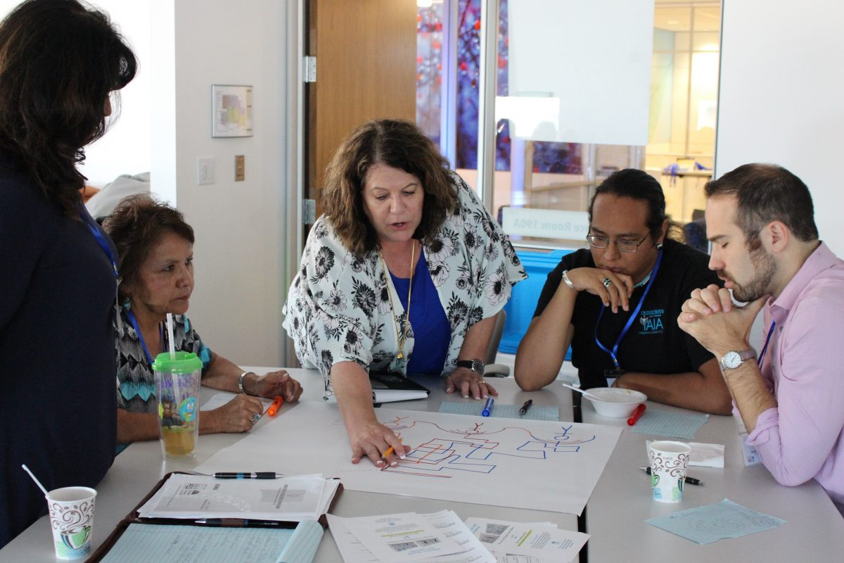 Educators gathered around a table having an interactive discussion