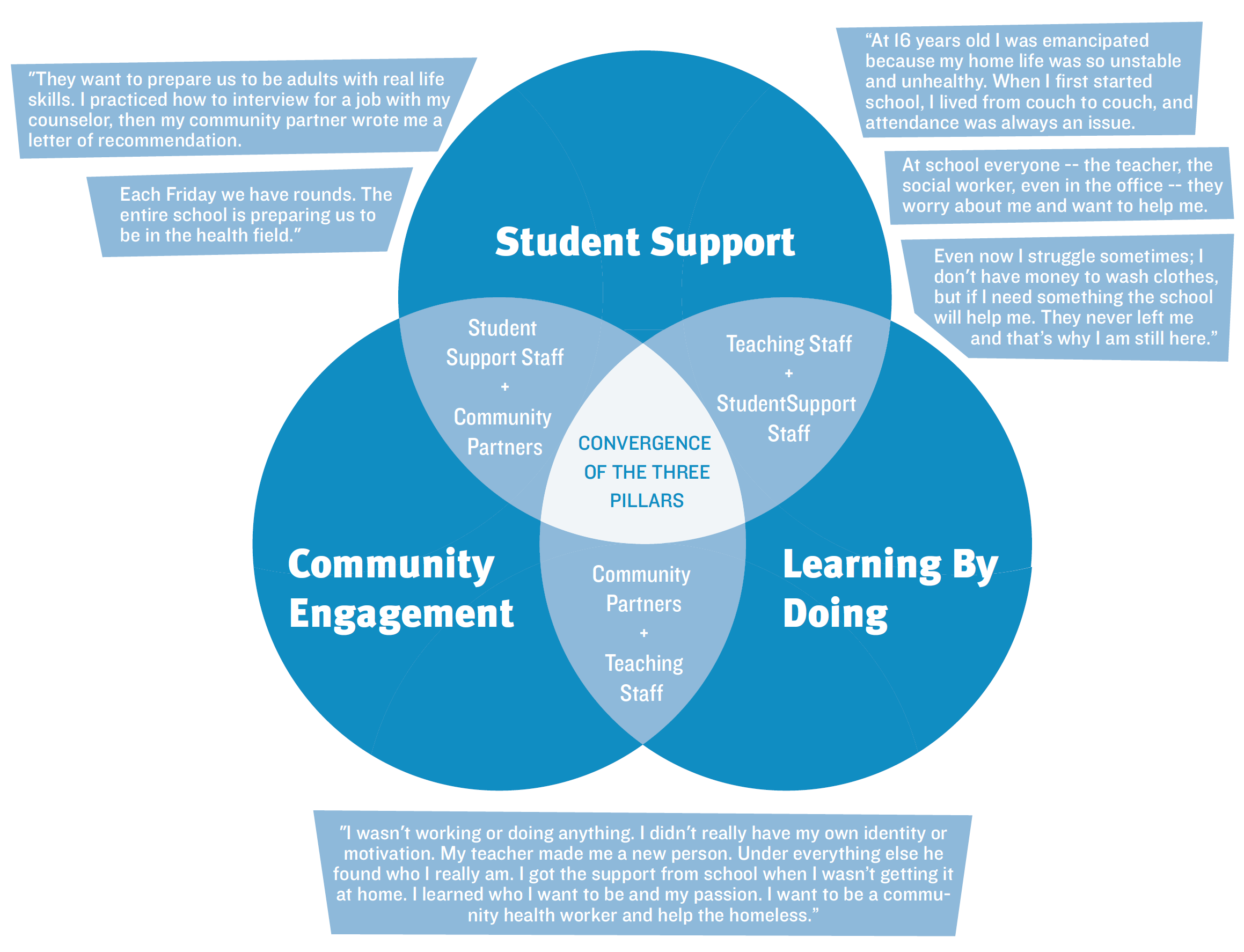 Infographic about the three pillars, reach out to info@futurefocusededucation.org for more information