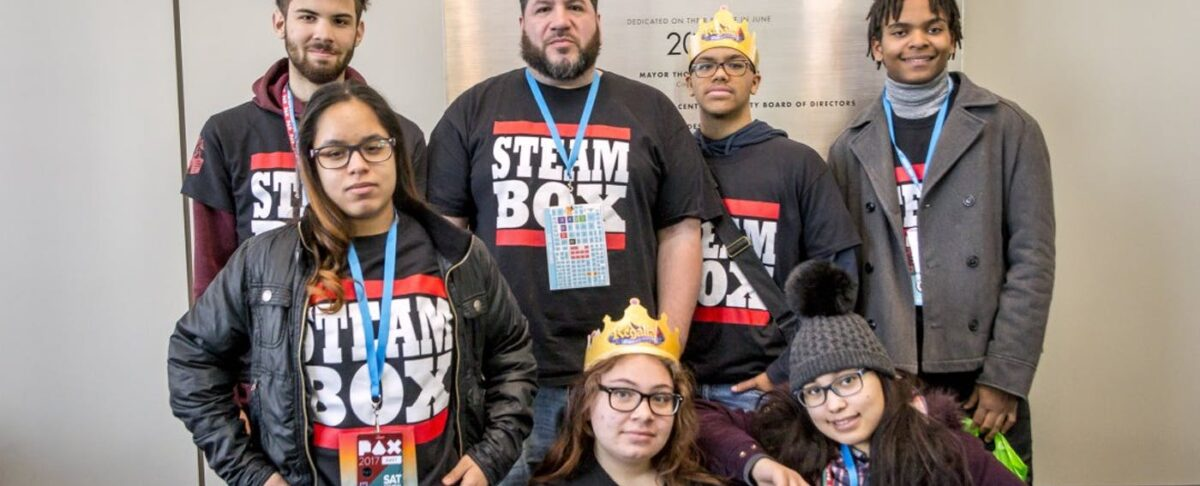 Students wearing STEAM Box tshirts