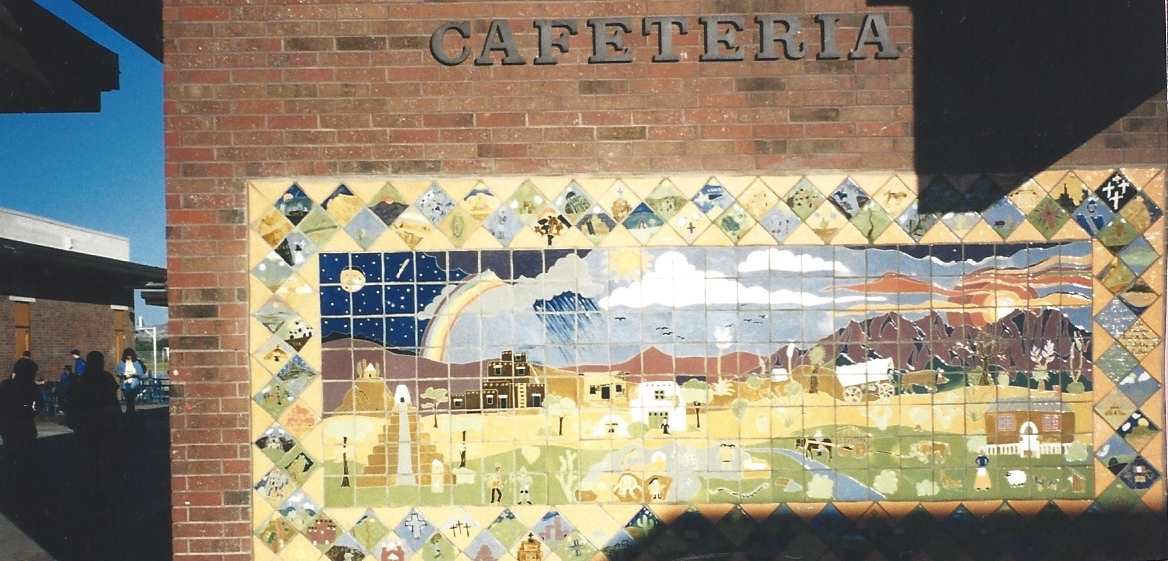 Tile mural on school building