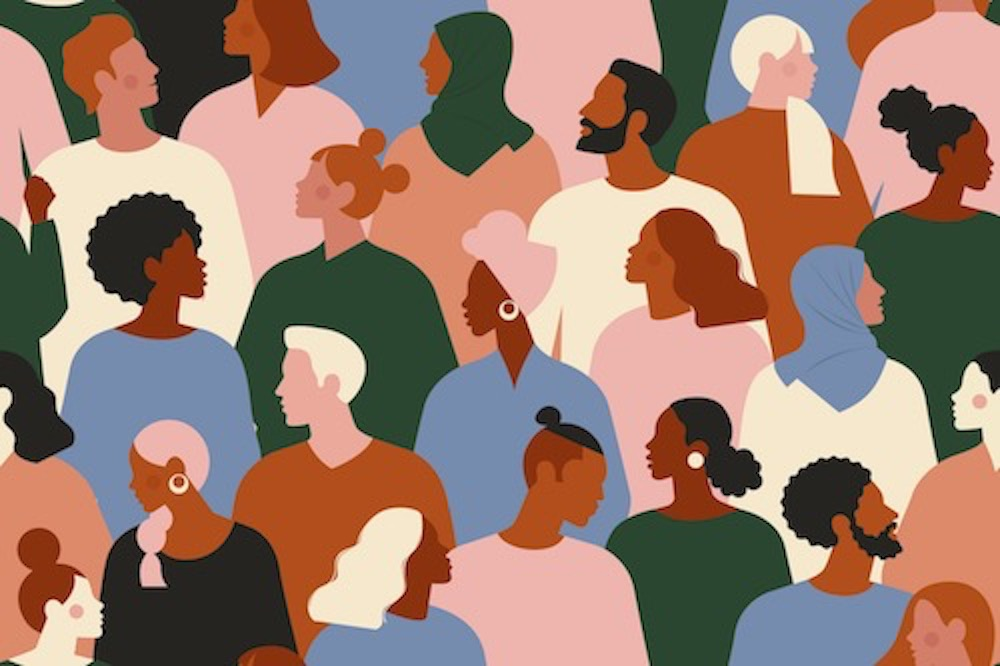 graphic with diverse animated people sitting in rows